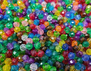 1,000 Pcs 6mm Assorted Transparent Round Crystal Faceted Plastic Craft Beads