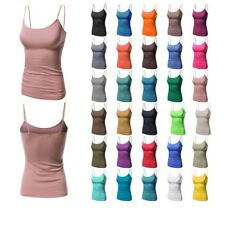 FashionOutfit Women's Basic Soft Solid Camisole Tank Tops with Adjustable Straps