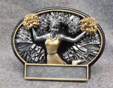 Bi660 Cheerleading small black oval plate resin award trophy