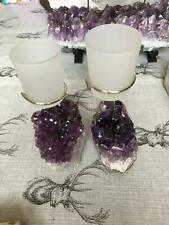 Premium A Grade Amethyst Cluster Druzy Candle / 1 Cup Tealight Holders 750g