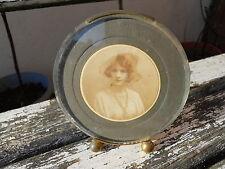 Rare ancien cadre photo art déco 1920-1930  verre rond biseauté