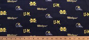 "NEW COTTON Fabric 1/4yard=9""x44"" UNIVERSITY OF MICHIGAN WOLVERINES UofM DIY MASK"