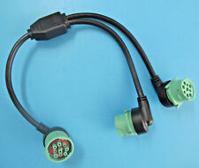 """Green Round 9 pin Y Splitter ELD EOBR AOBRD ECU Diagnostic Cable Heavy Duty 20"""""""