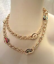 Bijoux Cascio Florence Long Necklace Gold Plated Chain & Enamel Disk Signed
