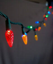 25 Outdoor RGB LED C7 Strawberry String Lights, 16.6FT Green Cord