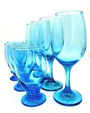 Set of 4 Sky Blue Wine Glasses and 4 Water Goblet Glasses