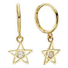 14k Solid Yellow Gold Hoop Earrings Starlis 6868 Charming Star Design Lovely
