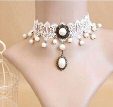 VINTAGE STYLE WHITE LACE BRIDAL CHOKER COLLAR DROP PEARL NECKLACE