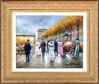 Gold Framed Texture Oil Painting, Gaston Signed, Paris City Street Landscape