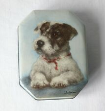 More details for rare vintage blue bird toffee tin with sealyham terrier dog, puppy picture.1950s