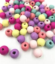 100X Gemischte Runde Holzperlen DIY Kinder Handwerk Halskette Spacer Perlen 10mm