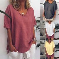 Women Plus Size Solid O-Neck Linen T-Shirt Short Sleeve Summer Casual Top Blouse