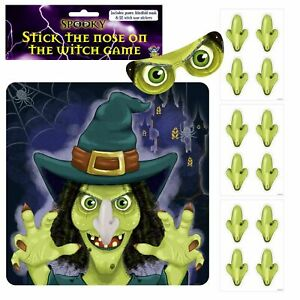 HALLOWEEN PIN THE NOSE ON THE WITCH PARTY GAME POSTER WALL DECORATION FOR 12