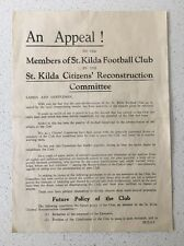 RARE 1942 ST.KILDA F. C. PAMPHLET VFL ST.KILDA CITIZENS RECONSTRUCTIVE COMMITTEE