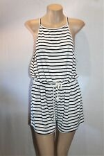 Mint Vanilla Brand White Striped Sleeveless Playsuit Romper Size L BNWT #SR73