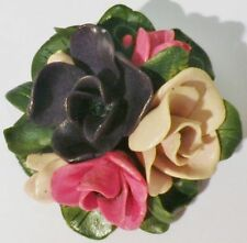broche bijou vintage ancien rosace fleurs celluloid en relief vert mauve * 3352