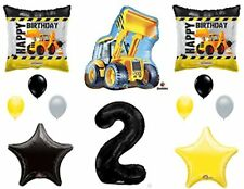 2nd Two BIRTHDAY CONSTRUCTION Balloons Decoration Supplies Party Boy Dump Truck