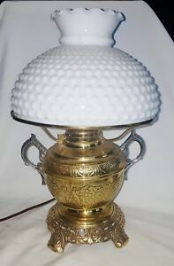 ATQ Brass Rayo Rochester Two Handled Student Oil Lamp Footed w/Shade Electrified