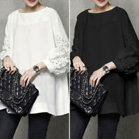 Womens Puff Sleeve Tops Plus Size Blouse Shirts Ladies Retro Pullover Tee Tunic