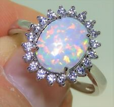 SOLID 925 SILVER OPAL CABOCHON KATE CLUSTER RING - size K Sterling Silver