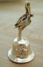Beautiful Miniature Sterling Solid Silver Bell - Stork Baby Shower / Christening