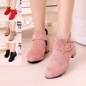 Children Kids Girls Fur Lined Buckle Low Heels Party Princess Ankle Boots Shoes