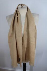 Vtg Johnstons of Elgin 100% Wool Tan Brown Muffler Rectangle Scarf 11.5x56