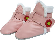 carozoo pink booties 0-6m soft sole leather infant baby shoes