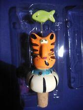 Ceramic Hand Painted Tabby Cat Wine Stopper with Green Fish Wire Whiskers New