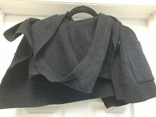 THEORY Gray Wool Scarf  Wrap Cardigan Hood Buttons Pockets One Size