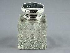 Antique Cut Glass & Towle Sterling Silver Top Inkwell