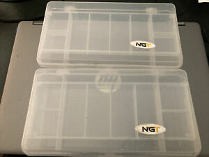 2 X LARGE FISHING NGT TACKLE BOXES - 11 SECTIONS PERFECT FOR TACKLE  BAIT, HOOKS