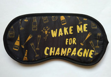 Eye sleep mask black Wake me for champagne letter print funny party travel aid