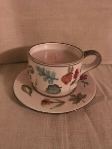 Longaberger Teacup And Saucer Candle  - New - Homestead Exclusive