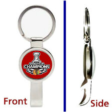 Chicago Blackhawks 2015 Stanley Cup Keychain silver tone secret bottle opener