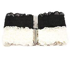 Damen Mode Spitzen Schließe Schnalle Elastische Taillengürtel (Schwarz / Weiß)