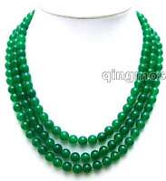"""SALE Luxury 8mm Round Green jade 3 Strands 18 to 20"""" necklace -nec5773 free ship"""