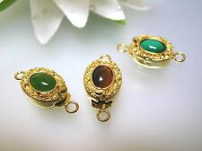 Antique estate nature 3 gemstone cabochon 18k gold plated clasp for single strnd