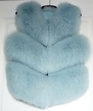 REAL FOX FUR GILET SLEEVELESS JACKET SHORT COAT LIGHT BABY BLUE VEST WAISTCOAT S