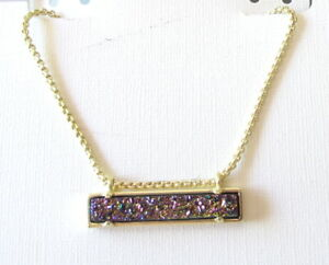 Kendra Scott Leanor Gold Plated Necklace In Multicolor Drusy Bar Pendent $75 NEW