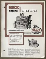 1979 Mack Thermodyne Diesel ETB 673 Engine original Australian sales brochure