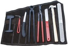 FARRIER TOOL KIT Offset Hoof Knife Horse/Hammer/Nippers/Clinchers/Rasp 8 Pieces