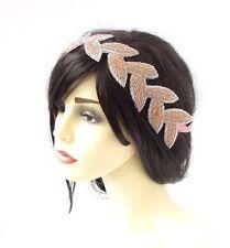 Rose Gold Seed Bead Bridal Headpiece Headband Wedding Ribbon Beaded Grecian 3660