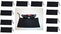 10 Black Soft Cleaning Fiber Cloth Sunglasses Lens Eye Vision Carry Case Pouch
