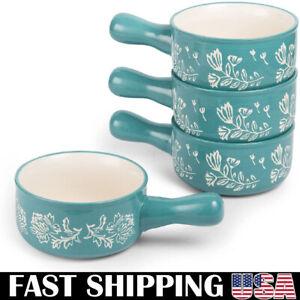 4-Pack Soup Bowls w/ Handles French Onion Soup Crocks Oven Safe Porcelain