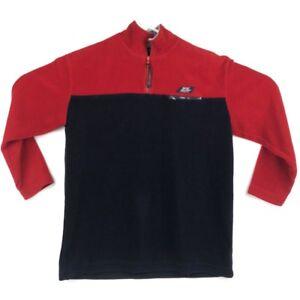 90s Vintage Lauren Ralph Lauren Polo Womens M Pullover Fleece 1/4 Zip Red Navy