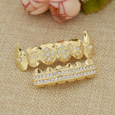 Canine Teeth Hip Hop Teeth Top Bottom Grills Set Unisex Body Jewelry Golden New