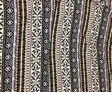 "SALE Rayon Challis Fabric - Lavender & Pecan TRIBAL AZTEC Stripe 56"" by the yard"