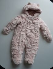 MOTHERCARE Baby Girls Pink Faux Fur Fluffy Snowsuit Detachable Mittens 3-6 Mths
