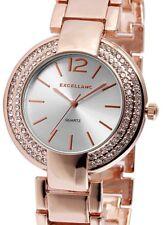 Damen Armbanduhr Silber/Rosé Crystalbesatz Metallarmband von Excellanc 1800011